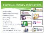 business industry endorsement