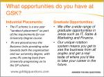 what opportunities do you have at gsk