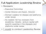 full application leadership review