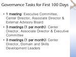 governance tasks for first 100 days1