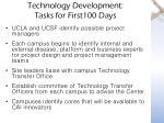 technology development tasks for first100 days