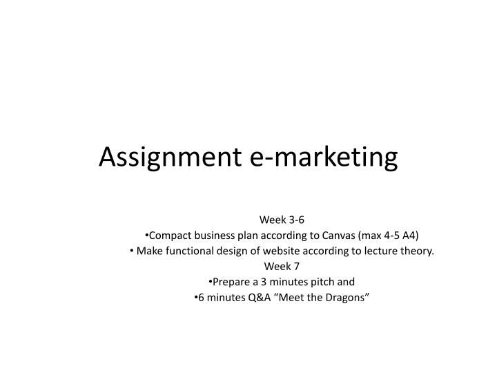 assignment e marketing n.