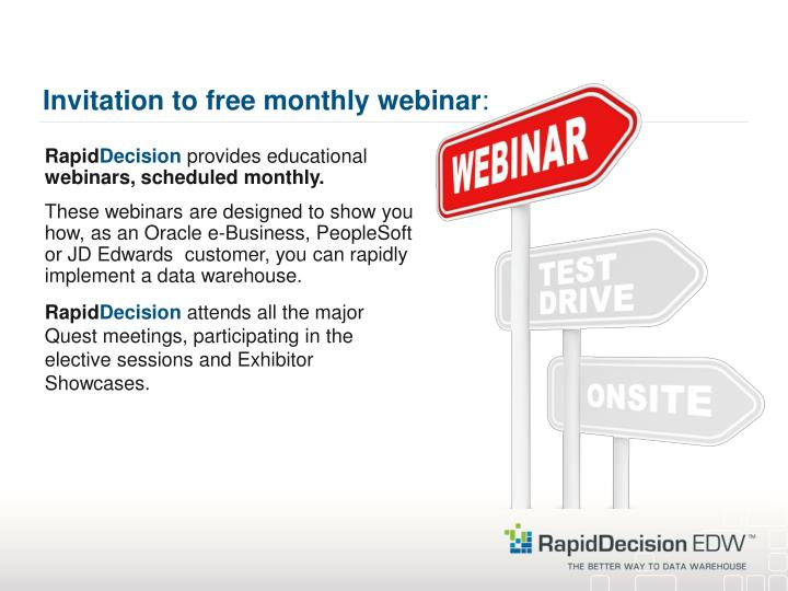 Invitation to free monthly webinar