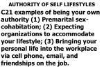 authority of self lifestyles