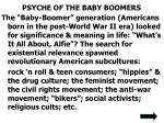 psyche of the baby boomers
