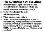 the authority of feelings