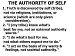 the authority of self