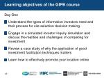 learning objectives of the gipb course
