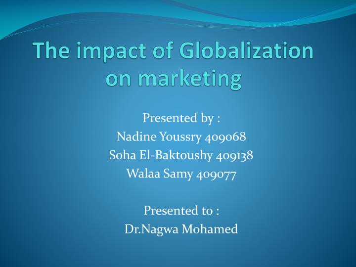 the impact of globalization on marketing n.