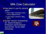 milk cow calculator