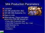 milk production parameters