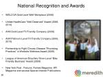 national recognition and awards