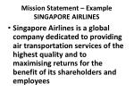 mission statement example singapore airlines
