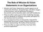 the role of mission vision statements in an organizations