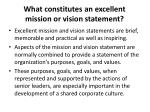 what constitutes an excellent mission or vision statement