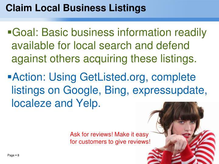 Claim Local Business Listings