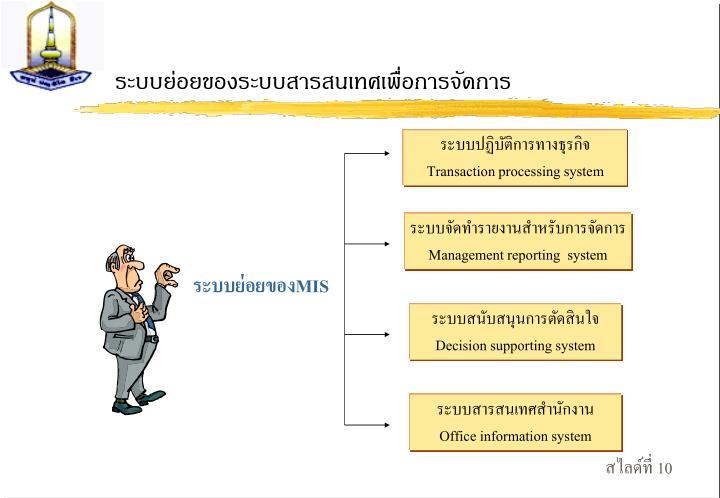ระบบย่อยของระบบสารสนเทศเพื่อการจัดการ