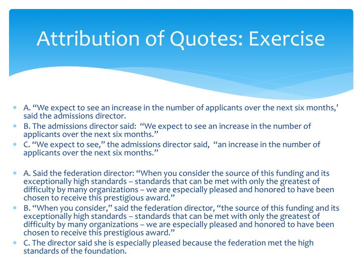 Attribution of Quotes: Exercise