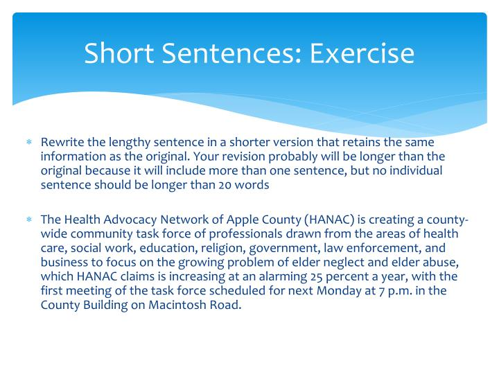 Short Sentences: Exercise