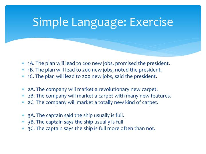 Simple Language: Exercise