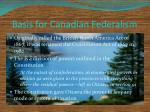 basis for canadian federalism