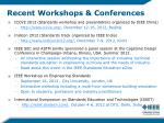 recent workshops conferences