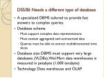 dss bi needs a different type of database