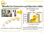 benefits for consumers and operators alike