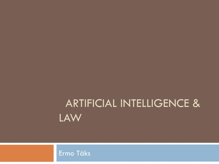 artificial intelligence law n.