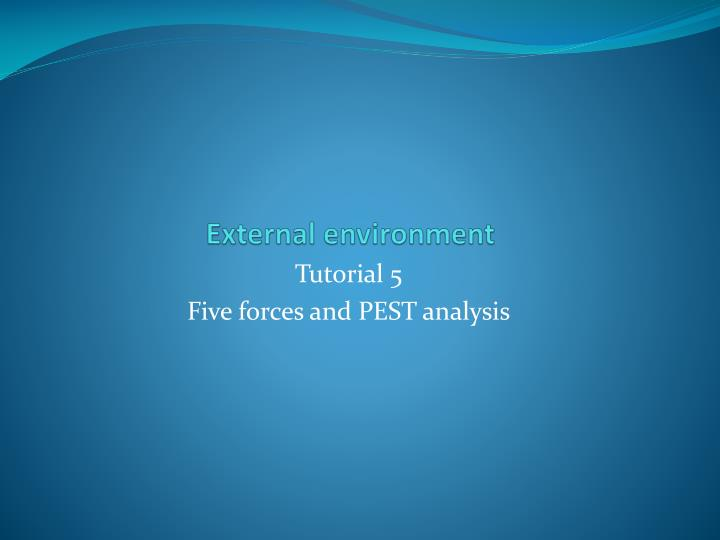 external environment analysis of fitness first A pest analysis is used to identify the external forces affecting an organisation/making up its macro environment this is a simple analysis of an organisation's political, economical, social and technological environment.