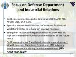 focus on defense department and industrial relations