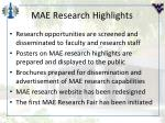 mae research highlights