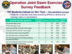 operation joint dawn exercise survey feedback