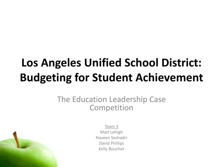 los angeles unified school district budgeting for student achievement n.