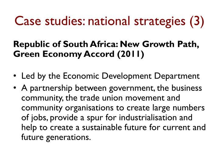 Case studies: national strategies