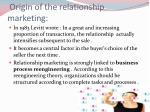 origin of the relationship marketing