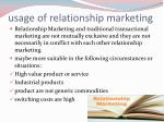 usage of relationship marketing