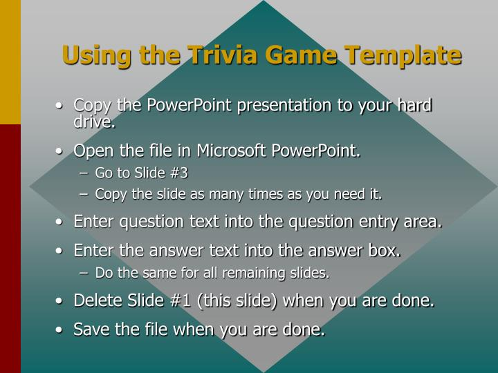 Ppt Using The Trivia Game Template Powerpoint Presentation