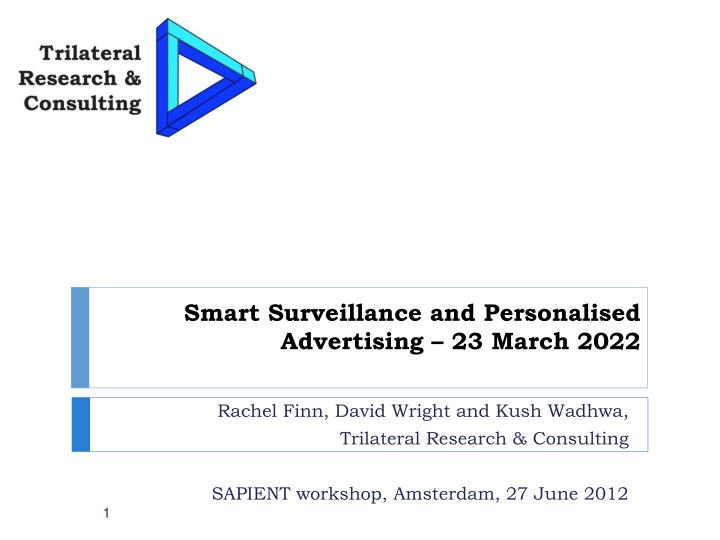 Smart surveillance and personalised advertising 23 march 2022