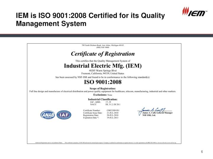 IEM is ISO 9001:2008 Certified for its Quality Management System