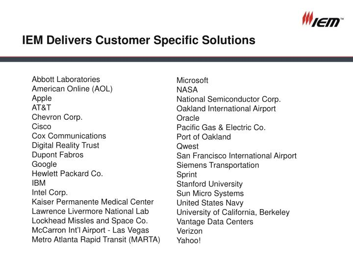 IEM Delivers Customer Specific Solutions