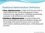 traditional administration definitions