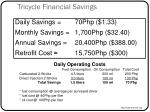 tricycle financial savings