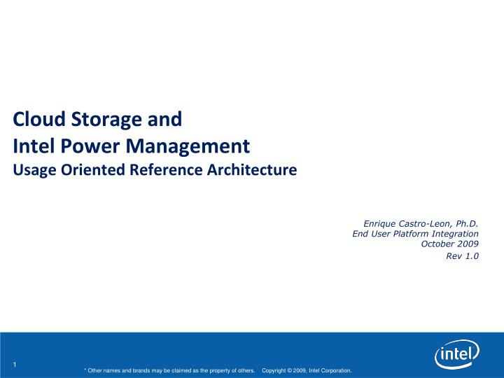 cloud storage and intel power management usage oriented reference architecture n.