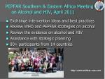 pepfar southern eastern africa meeting on alcohol and hiv april 2011