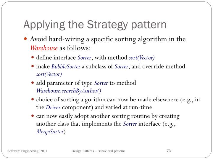 Applying the Strategy pattern