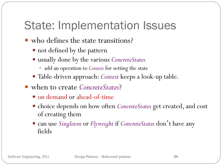 State: Implementation Issues