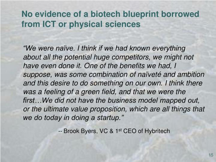 No evidence of a biotech blueprint borrowed from ICT or physical sciences