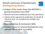 overall conclusions of questionnaire working group metrics