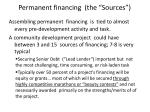 permanent financing the sources